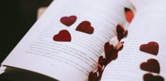 Religious Wedding Readings rose petals in book