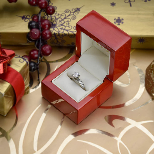 engagement ring in red box New Year's Eve Competition: Win a £500 Voucher to Spend at Miltons Diamonds