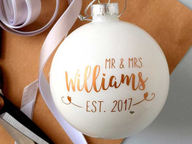 personalised christmas bauble for alternative festive cakes