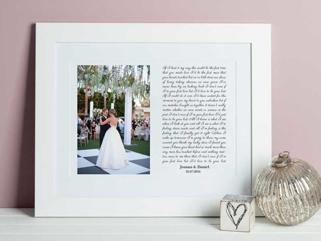 first dance song and song lyrics frame first wedding anniversary gift