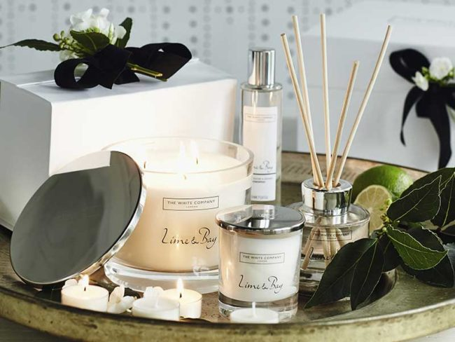 white company lime and bay collection for scented weddings