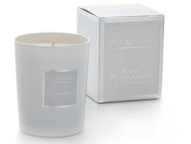 max Benjamin white pomegranate candle for scented weddings