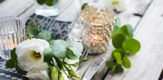 place setting with candles for scented weddings