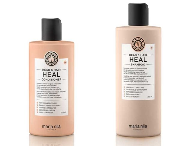 bottles of Maria nila shampoo and conditioner best vegan beauty products