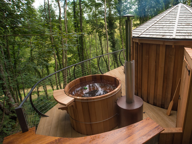 Little Coombe Cedar Yurts hot tub Escape to the Country With Little Coombe Cedar Yurts