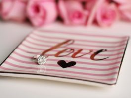 engagement ring on love trinket dish valentines day