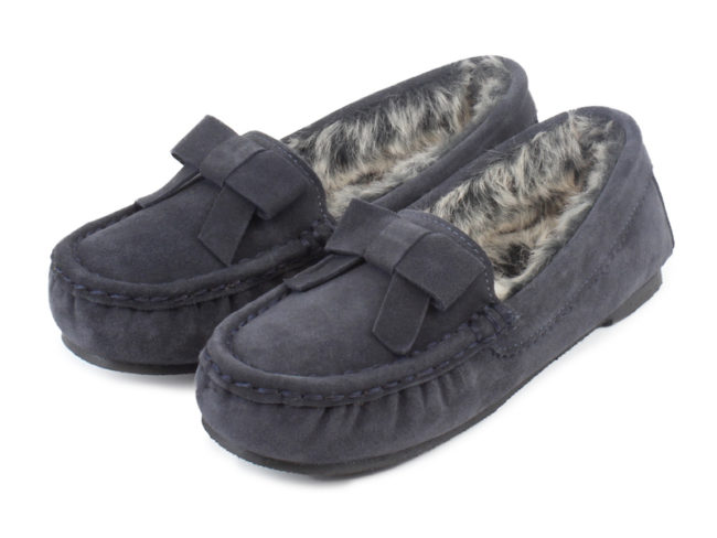 grey slippers with fur bows Last-minute Valentine's Day Gift Ideas for Every Budget