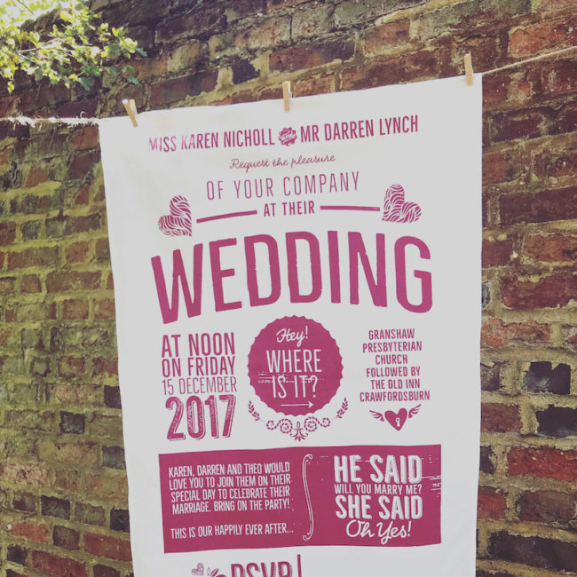 wedding personlised tea towel Win 10k Worth of Prizes competition