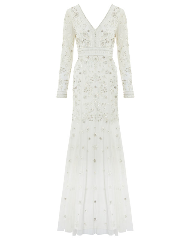 MONSOON ELIZABETH EMBELLISHED WEDDING DRESS high street