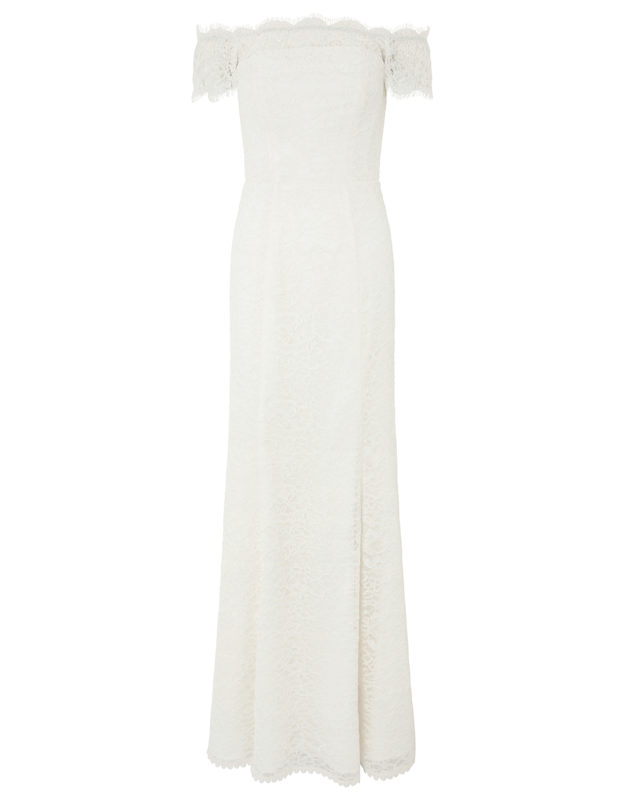 MONSOON- SOPHIE LACE BARDOT MAXI WEDDING DRESs high street