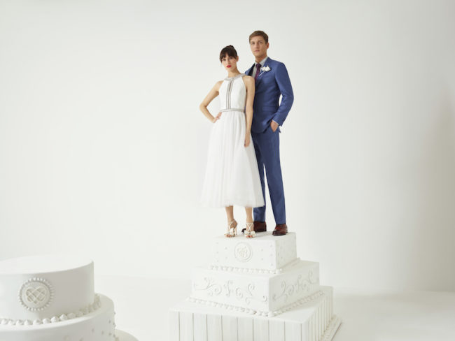 Ted Baker Wedding Dress and groom suit High Street Wedding Dresses Under £1,000