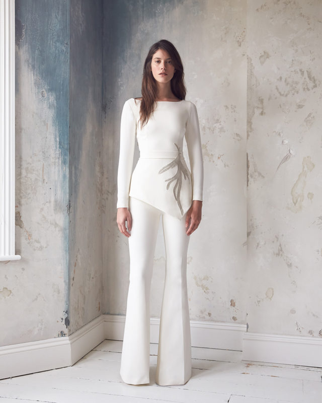 Safiyaa bridal trouser suit wedding two piece