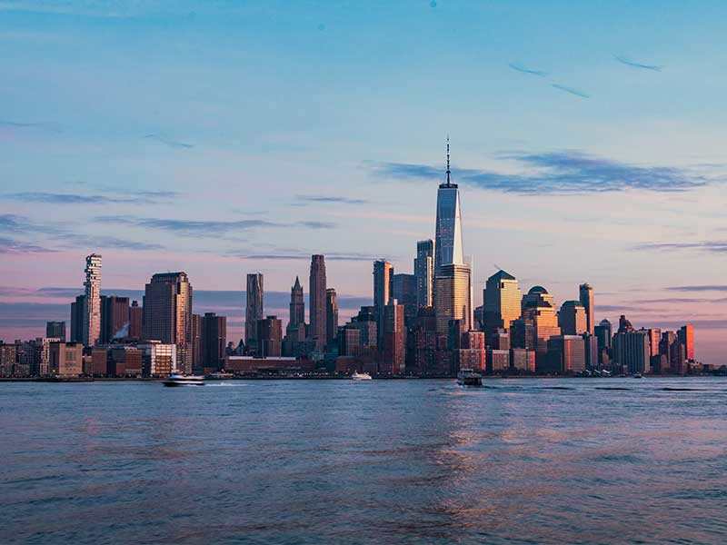 New York cityscape sunset