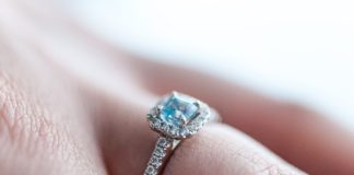 Colourful engagement ring blue