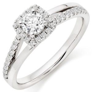 SPLIT SHANK - Platinum Diamond Halo Ring, £3,250 from Beaverbrooks